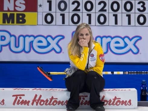 Manitoba skip Jennifer Jones pauses for a moment after the eight end during a morning draw against Nova Scotia at the Scotties Tournament of Hearts in Moose Jaw, Sask. Wednesday, Feb. 18, 2015. THE CANADIAN PRESS/Jonathan Hayward