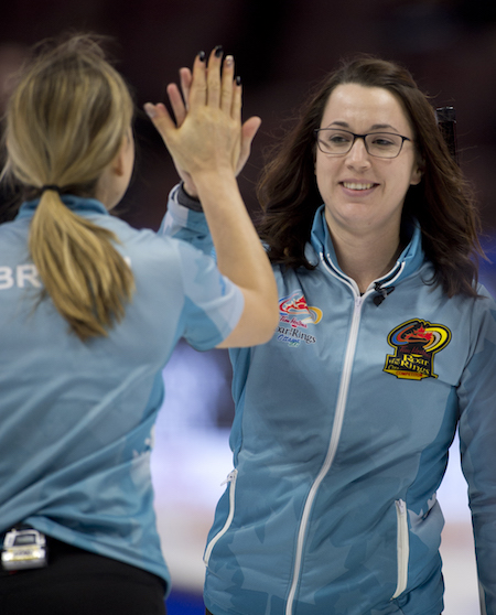 Kanata ON.December 6, 2017.Tim Hortons Roar of the Rings Curling Trials.Team Sweeting, skip Val Sweeting, lead Rachel Brown.Curling Canada/ michael burns photo